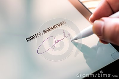 Digital Signature Concept with Tablet and Stylus