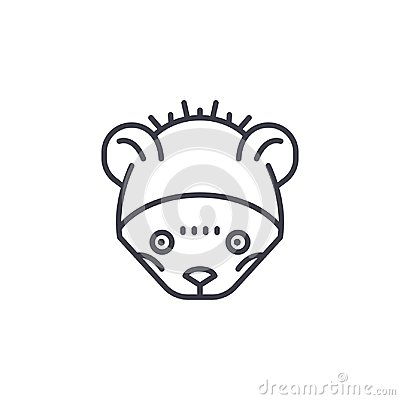 Wild mouse head vector line icon, sign, illustration on background, editable strokes