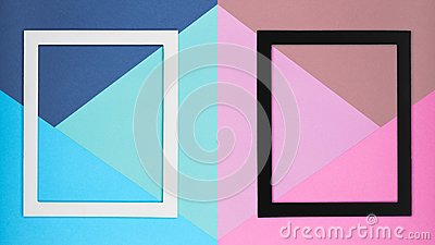 Abstract multicoloured paper texture minimalism background. Minimal geometric shapes and lines composition with picture frame.