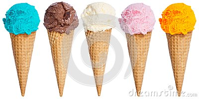 Collection of ice cream scoop sundae cone in a row icecream isol