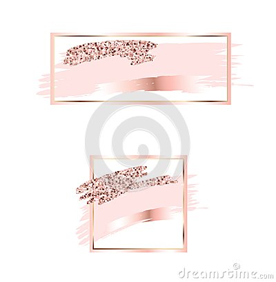 Brush strokes in gentle pink tones.Gentle pastel colors.Rose gold frame.Abstract vector background.Shiny golden lightning.Pink spa