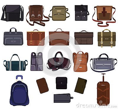Man bag vector manlike fashion handbag or business briefcase and leather notecase or wallet of businessman illustration