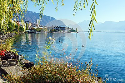 The main embankment of the Lake Geneva, the famous town of Montr