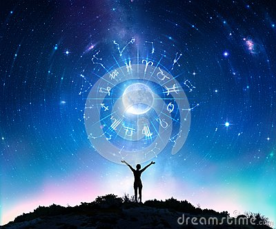 Woman Consulting The Stars - Zodiac Signs