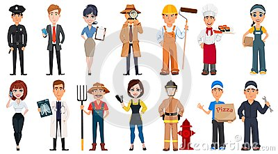 Set of cartoon characters with various occupations.