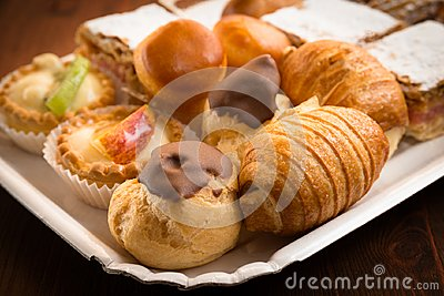 stock image of tray of desserts