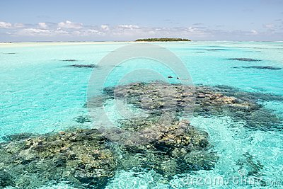 Snorkeling in turquoise clear water with coral reefs, South Pacific Ocean with Island