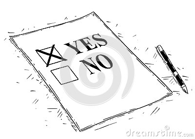 Vector Artistic Drawing Illustration of Yes and No Questionnaire Form