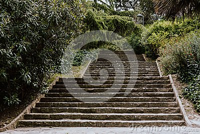 Stairway into a park in Barcelona