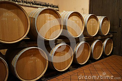 Barrique in a wine cellar