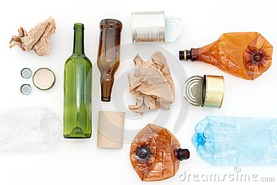 Recyclable waste, resources. Clean glass, paper, plastic and metal on white background. Recycling, reuse, garbage disposal, resour