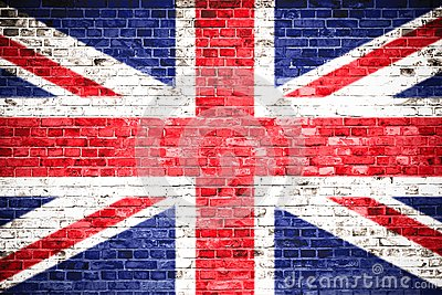 United Kingdom UK flag painted on a brick wall. Concept image for Great Britain, British, England, English language, people