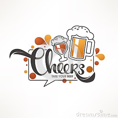 Cheers, vector illustration with draft beer mugs and lettering c