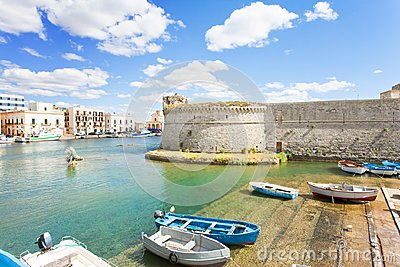 Gallipoli, Apulia - Traditional rowing boats at the seaport of G