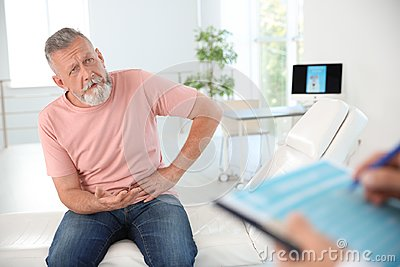 Man with health problem visiting urologist