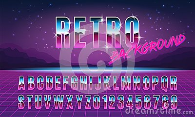 Background and font in style arcades the 80s. Vector illustration.