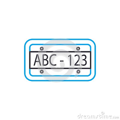 Car plate vector thin line stroke icon. Car plate outline illustration, linear sign, symbol concept.