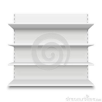 Empty supermarket shelf. Retail store white blank shelves for merchandise. Isolated shelving stand vector illustration