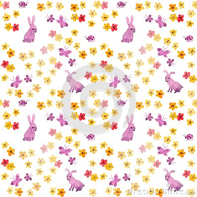 Seamless aquarelle pattern with cute hand painted rabbits, primitive flowers and naive butterflies. Childish watercolour