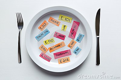 Colorful paper notes naming food additives on plate with fork and knife, food additive and unhealthy food concept