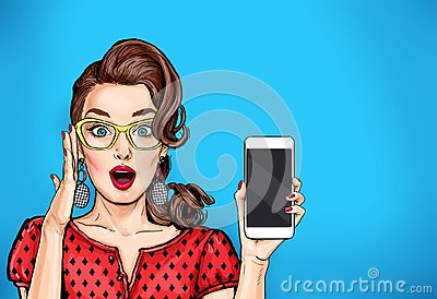 Attractive girl in specs with phone in the hand in comic style. Pop art woman