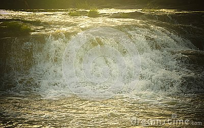 Forceful Flow of Water with Bright Sunlight - Flood - Natural Aqua Background