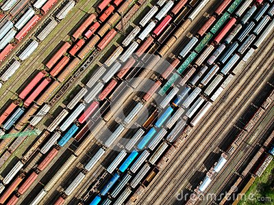 Aerial view of trains