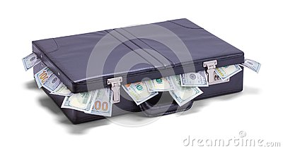 Briefcase with Money Sticking Out
