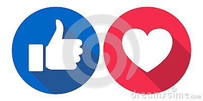 Facebook love and like icons colorful