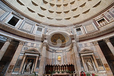 Pantheon, landmark, building, ceiling, classical architecture