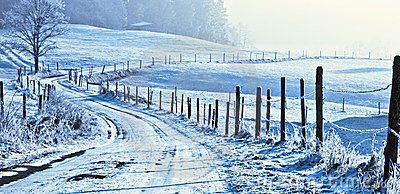 Wintry road in countryside