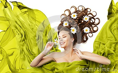 Woman Flowers in Hair Curls, Beauty Model Floral Hairstyle