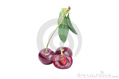 Red cherry on a branch with a green leaf, cut in the middle to the bone, isolated on a white background