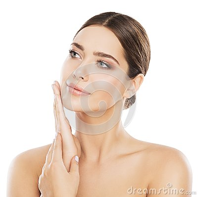 Face Beauty Skin Care, Woman Natural Make Up, Hand on Cheek