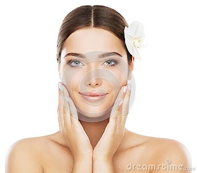 Face Beauty Skin Care, Woman Natural Make Up, Hands on Cheeks