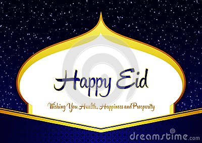Elegant Happy Eid Ramadhan Blue and Gold Greeting Card with Mosque Shilloutte, Stars, Ornament, and Wishes