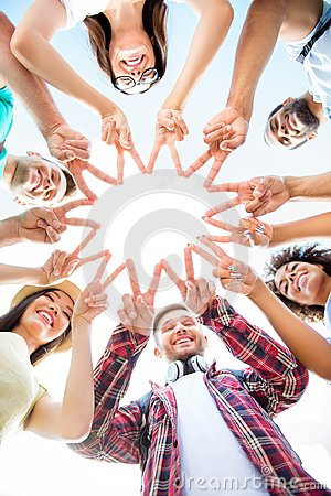 Unity and connection of people. Topview of multi ethnic students
