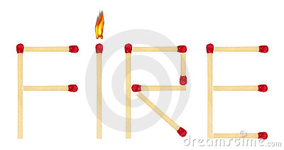 Word Fire made of matches