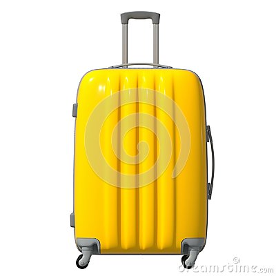 3d illustration. The road corrugated plastic suitcase is yellow. Facade. Isolated