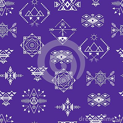 Aztec Style Ornament Seamless Pattern Background . Vector