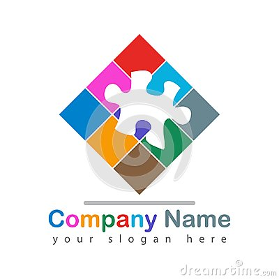 Colorful puzzle piece logo on white