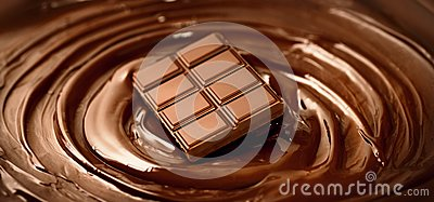 Chocolate bar over melted dark chocolate swirl liquid background. Confectionery concept backdrop