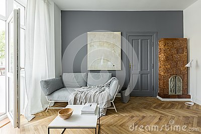 Living room with tiled stove