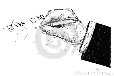 Vector Artistic Drawing Illustration of Yes and No Questionnaire Form and Hand Holding Ballpoint Pen