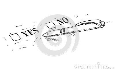 Vector Artistic Drawing Illustration of Yes and No Questionnaire Form and Ballpoint Pen