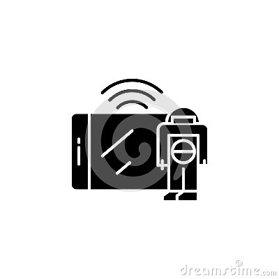 stock image of control via mobile devices black icon concept. control via mobile devices flat vector symbol, sign, illustration.