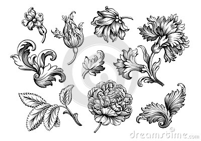 Rose peony flower vintage Baroque Victorian frame border floral ornament scroll engraved retro pattern tattoo filigree vector set