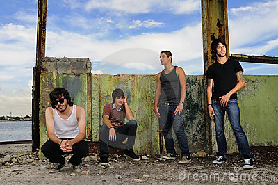 Diverse male teen group in grunge background