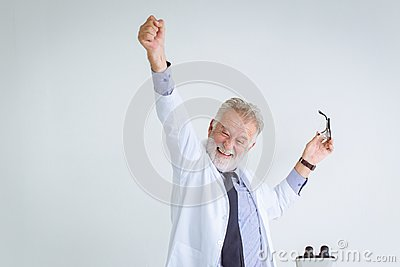 Happy success professor scientist to solve in science research