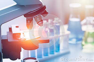 stock image of science chemical medical research lab tools